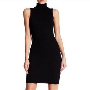 Black Sleeveless Turtleneck Knit Sweater Dress